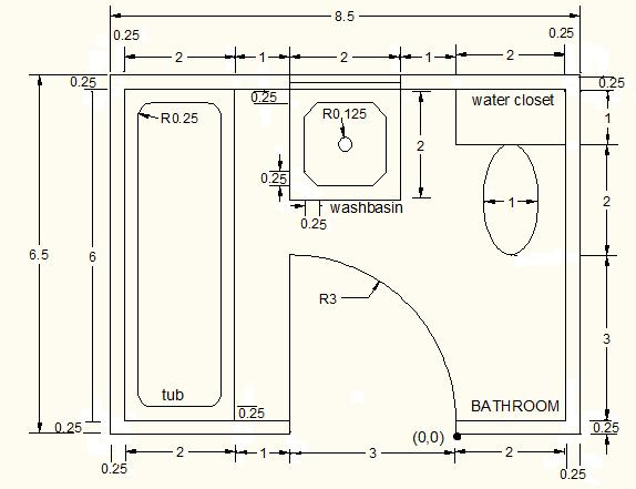 using AutoCAD objects line, circle, rectangle, arc and ellipse by apply the three methods of