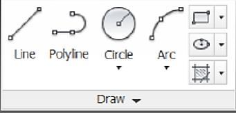 Figure 9. Draw Bar. 7. 1. Line Draw Line simple lines or series of lines segments.access to command line by one way of the following: 1. Command Line: Line or L 2. Menu Bar :Draw Line 3.