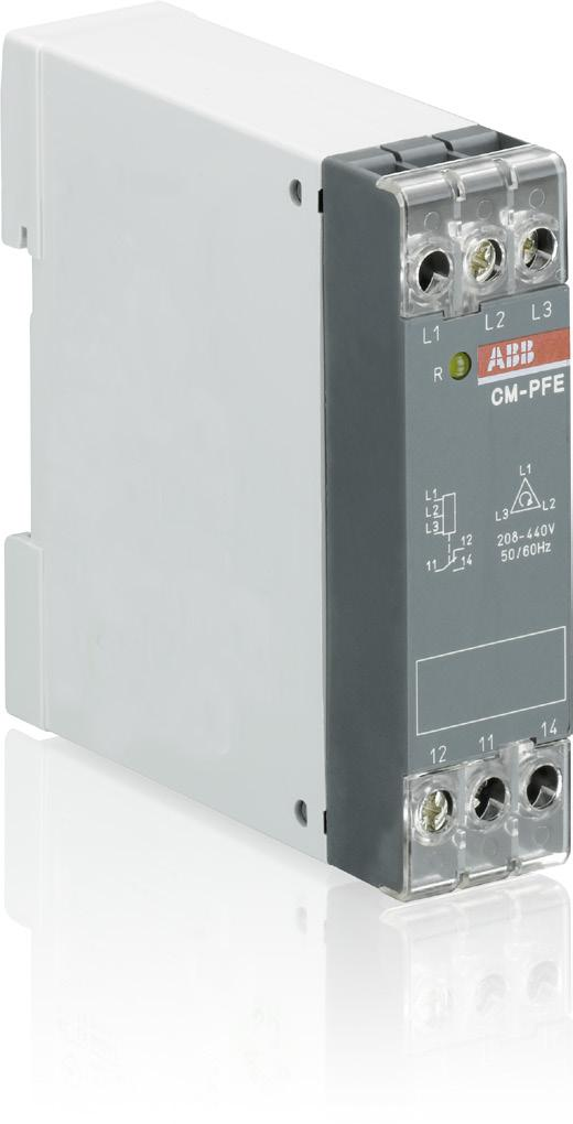 Data sheet Three-phase monitoring relays CM-PFE and CM-PFE.2 The CM-PFE is a three-phase monitoring relay that monitors the phase parameter phase sequence and phase failure in three-phase mains.