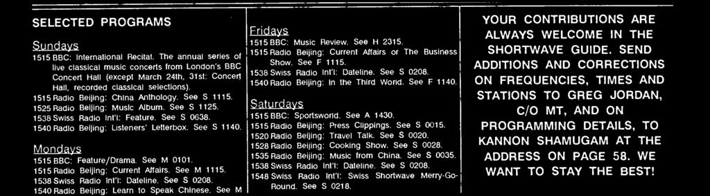 See S 1115. 1525 Radio Beijing: Music Album. See S 1125. 1538 Swiss Radio Int'I: Feature. See S 0638. 1540 Radio Beijing: Listeners' Letterbox. See S 1140. Mondays 1515 BBC: Feature /Drama.