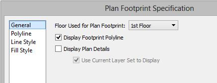 Select CAD> Plan Footprint. In the Plan Footprint dialog, a drop-down list allows you to select the Floor you want to create your plan footprint from. 2.