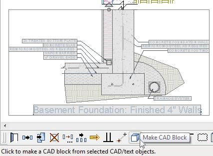 CAD Detail from View Move your mouse pointer over the top right corner of the concrete footing and when you see the Endpoint snap indicator, click once.