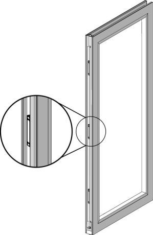 Align the bottom pin of the swing door with the swing door pivot pin hole in the bottom track. 2.