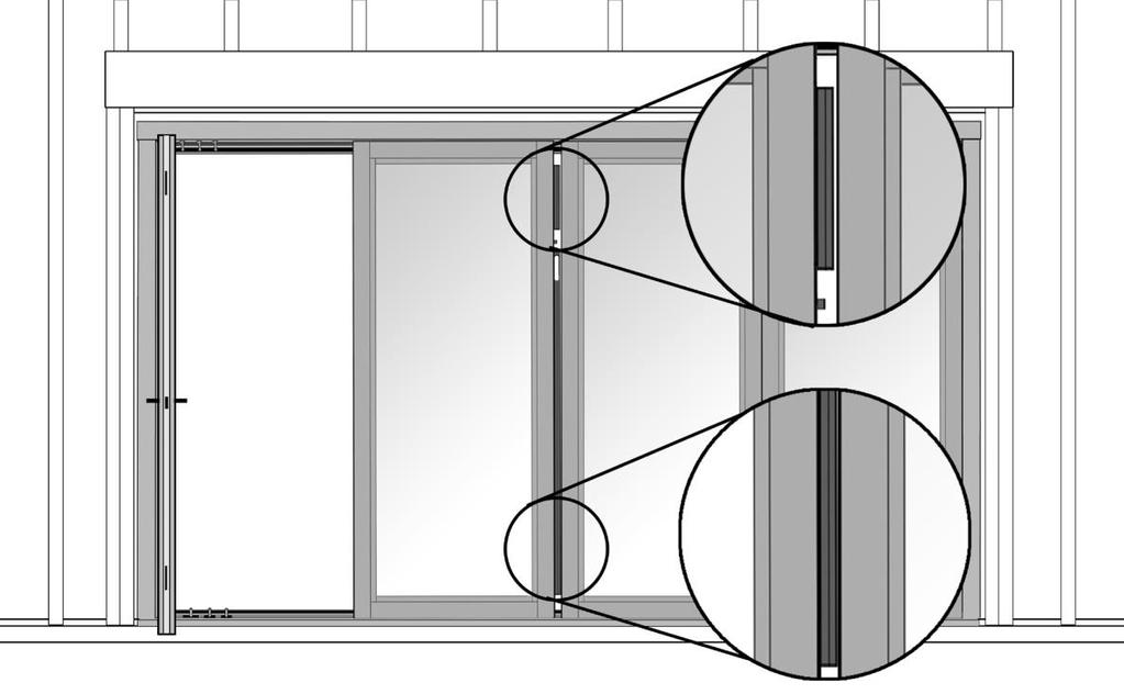 Adjusting Reveals for Sliding Panels 15 Use the reveal adjusters located on both sides of the sliding panel to adjust your reveals; the top-to-bottom alignment of door panels.