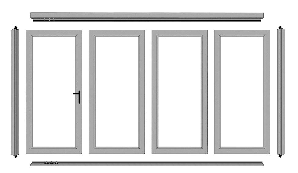 Example of a 4 Panel Door with 1 Active Swing Door NOTE: VIEWED FROM OUTSIDE LOOKING IN The drawing shows the labels of the components and the sequence of the panels.
