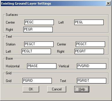 Existing Ground Layer Settings (EG) PC has adopted the layer names in the Existing Ground Layer Settings dialog box.