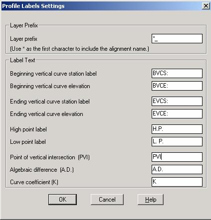 Profile Labels Settings PC has adopted the layer names in the Profile Labels Settings dialog box, with the exception of High and Low Points Labels, they have been modified to H.P. & L.P. respectively.