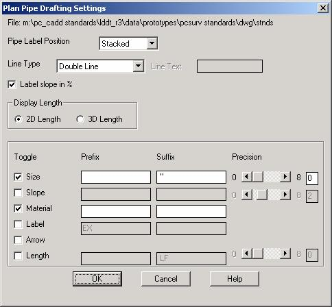 Pipes Drafting Labels Plan & Profile Use the Plan Pipe Drafting Settings dialog box to set the finish draft plan pipe settings.