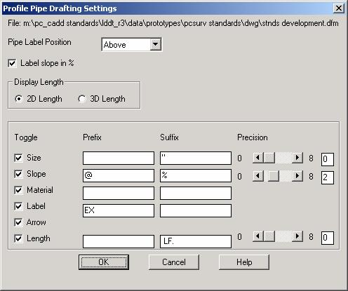 Use the Profile Pipe Drafting Settings dialog box to set the finish draft profile pipe settings.