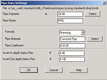 Use the Cross Section Layer Settings dialog box to specify the overall layer prefix and cross section layer for pipes.