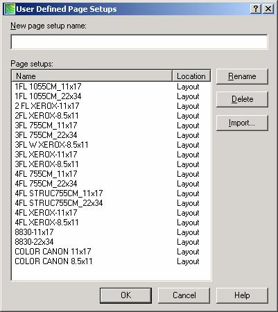 PC STANDARD PAGE SETUPS To activate a custom page setup for your layout tab, select it from the provided list by device name and paper size, included with your chosen standard PC template file.