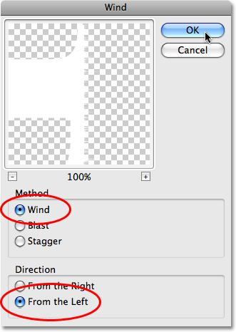 This brings up the Wind filter dialog box, which consists of a preview area in the top left and a few options below it. The options are divided into two sections, Method and Direction.