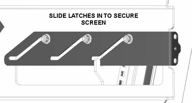Secure the display by sliding the latches, one on each side,