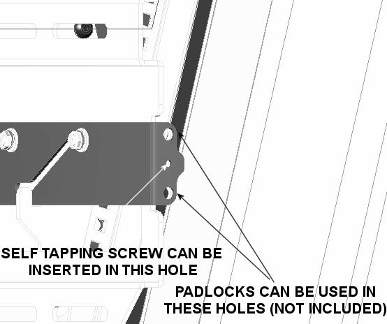 If desired, install self tapping screws (220) and/or padlocks (not