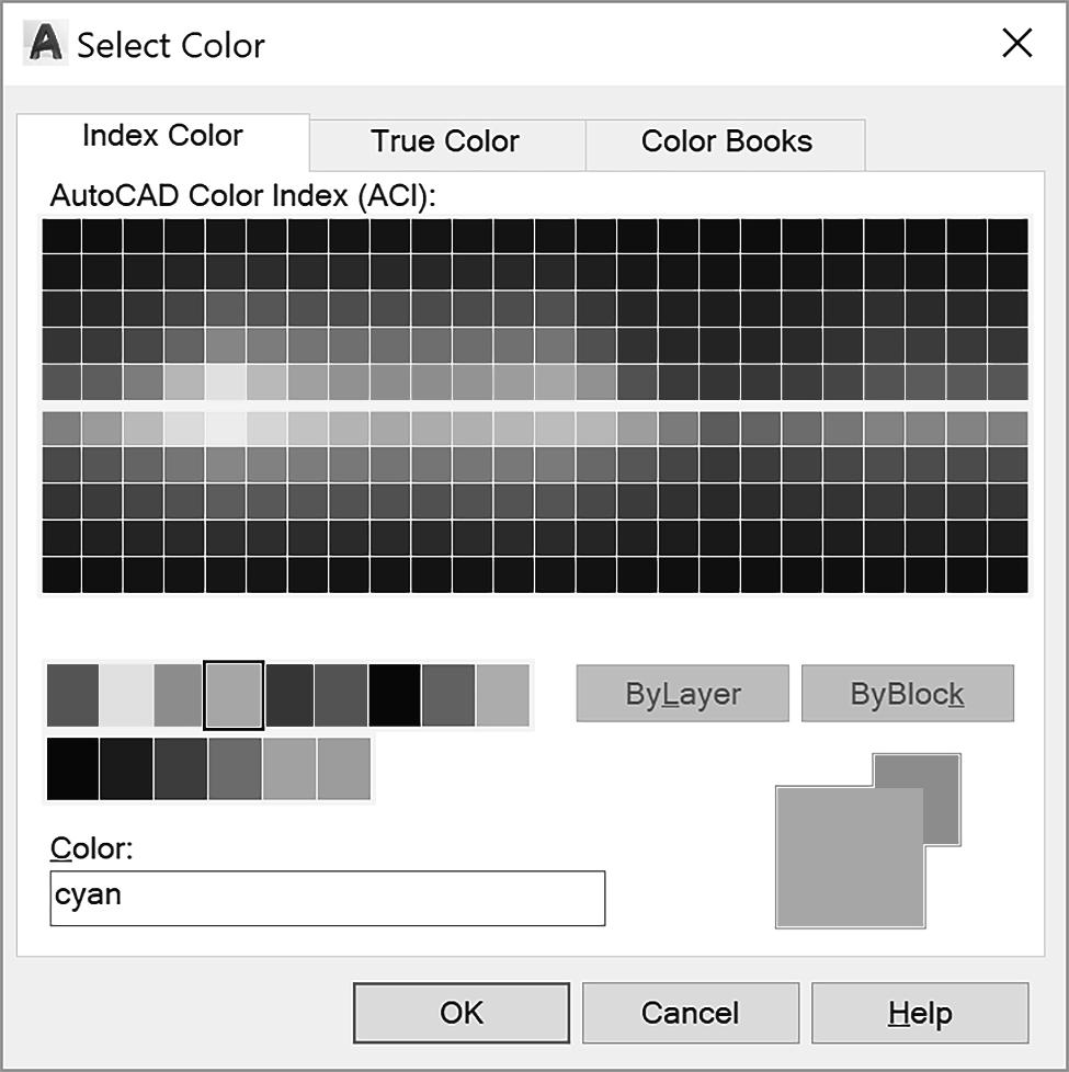 USING LAYER 67 Figure 2.15 Color in Layers The Select Color dialog box allows you to specify the color for objects drawn on a layer.