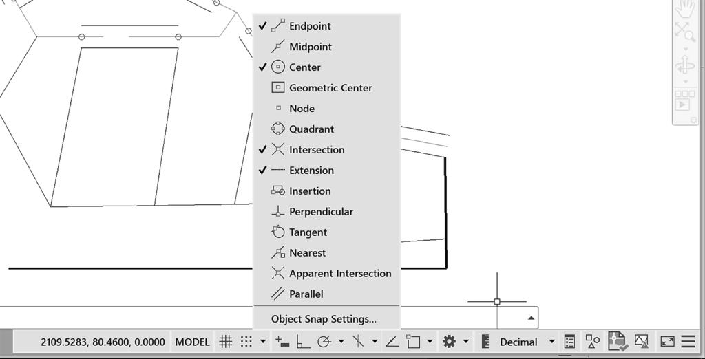 USING OBJECT SNAP 69 Using Object Snap The object snap feature accurately selects locations based on existing objects in your drawing.