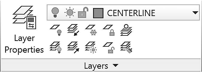 CONTROLLING COLORS 61 Figure 2.6 Click: on the layer name CENTERLINE from the Layer Control list It becomes the current layer shown on the toolbar.