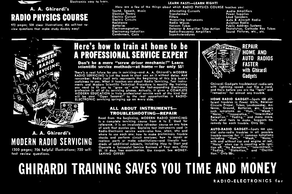 There's a real future for you in servicing -and A. A. Ghirardi's MODERN RADIO SERVICING is just the book to stort you on it without delay.