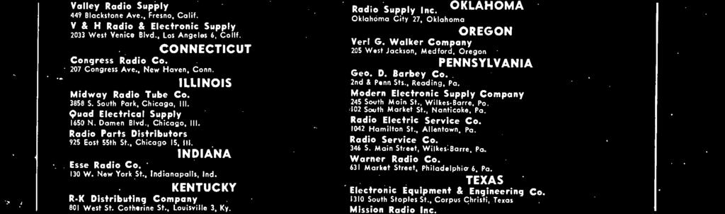 Walker Company 205 West Jackson, Medford, Oregon PENNSYLVANIA Geo. D. Barbey Co. 2nd.4 Penn Sts., Reading, Pa. Modern Electronic Supply Company 245 South Main St.