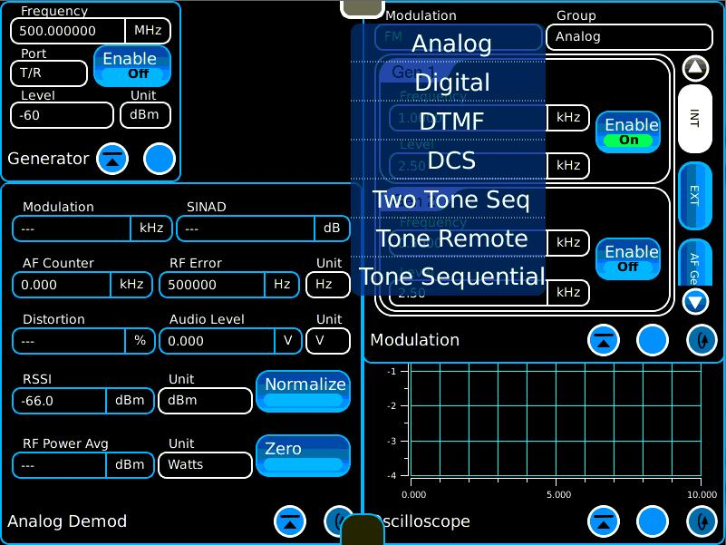Tone Signaling In addition to tones and voice, a variety of signaling options are available on the Modulation tile.