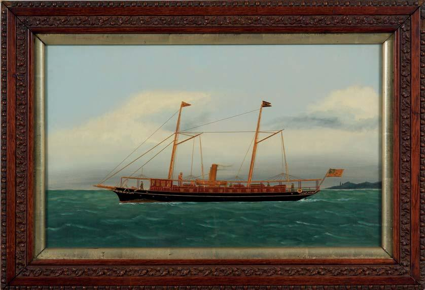 156 156. Attributed to Thomas Willis (American, 1850-1912) Portrait of the American Steam Yacht LINTA. Unsigned. Oil on canvas with velvet and silk applications, 15 3/4 x 26 in.