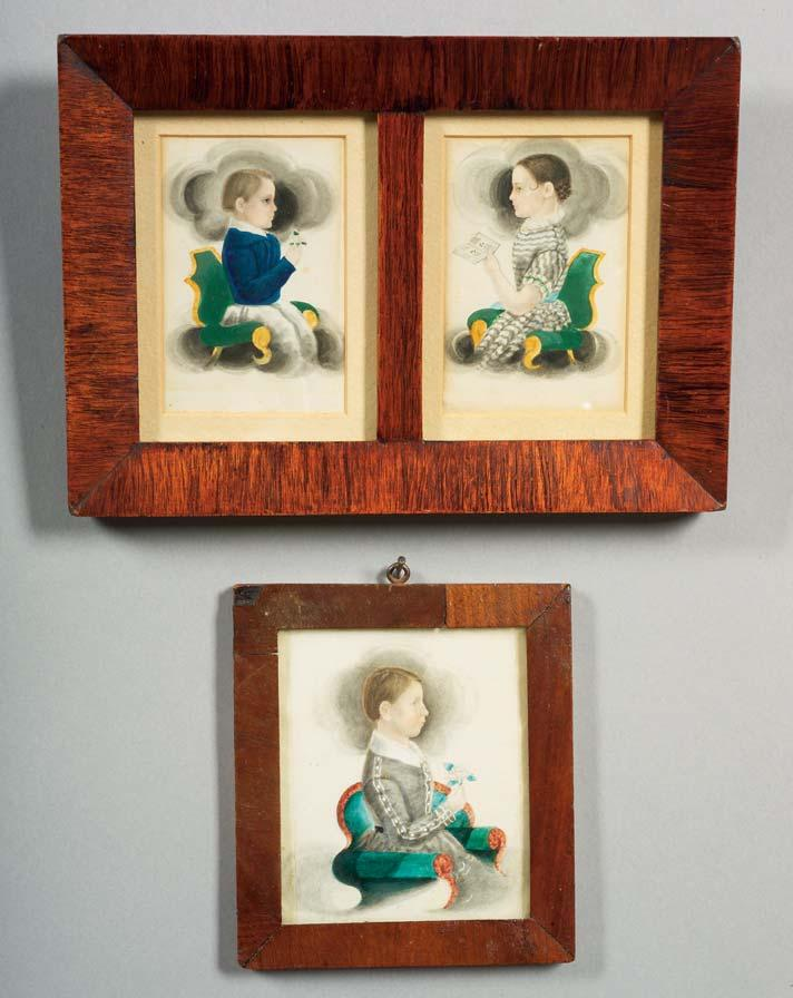 Top: 109, bottom: 110 109. Attributed to James Sanford Ellsworth (American, 1802/03-1874) Pair of Portraits of Two Children. Unsigned. Watercolor on paper, c.