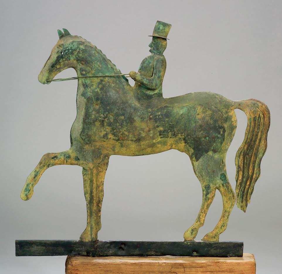 112 112. Molded Copper Horse and Rider Weather Vane, possibly A. L.