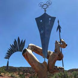 One-of-a-kind Spirits that rise up from various types of native woods, Zuni Bears, Steel Torches, Spirit Poles, Ladies in the
