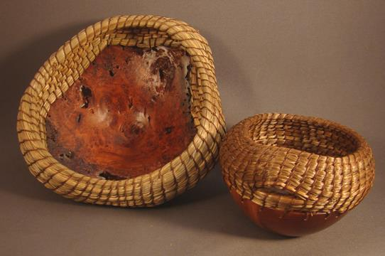 "CLASS ""51"" Sculptural Coiled Sweetgrass Basket on a Burl Base Duration: 1 Day (Sunday) Instructor: Dianne Stanton Pembroke, MA Ability Level: All levels Materials Fee: $55.00 Dimensions: 5."