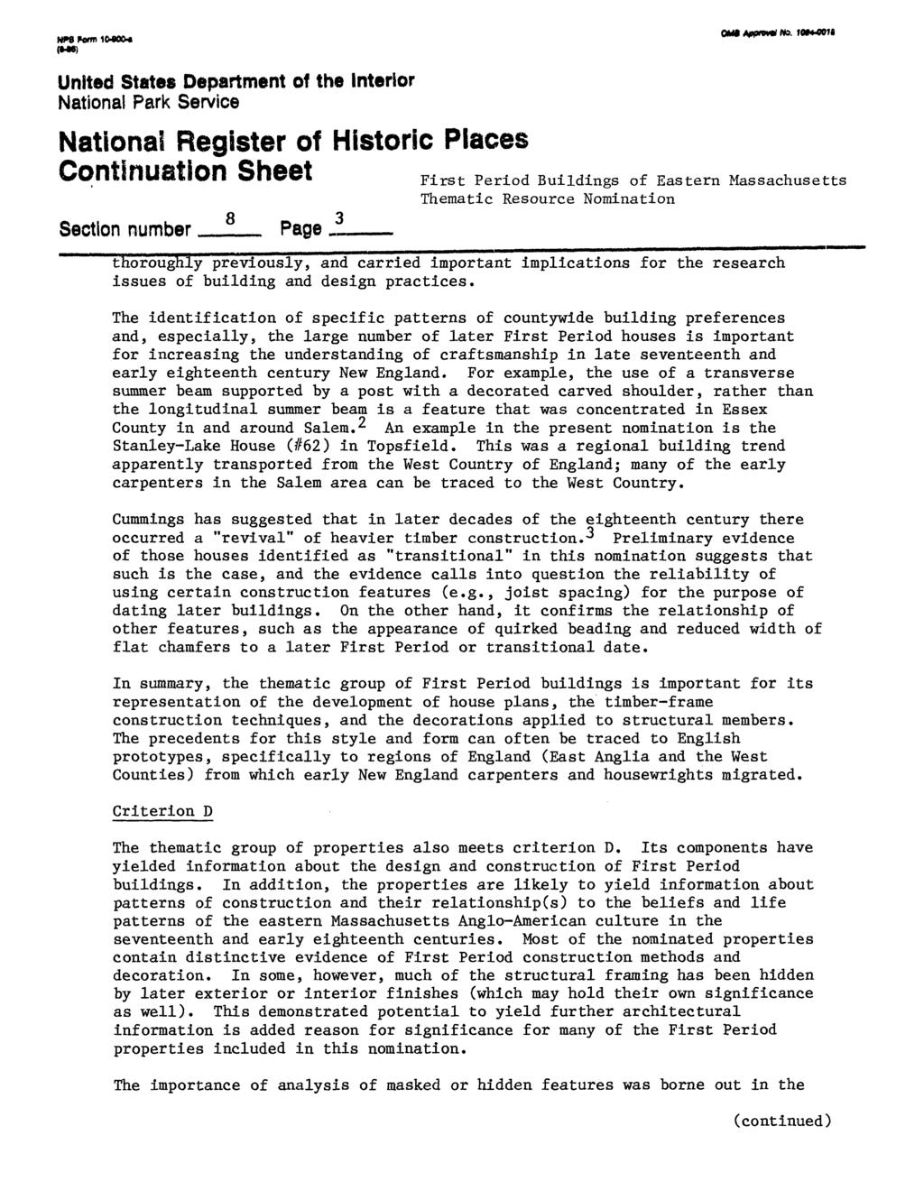 ontinuation Sheet Section number 8 Page thoroughly previously, and carried important implications for the research issues of building and design practices.