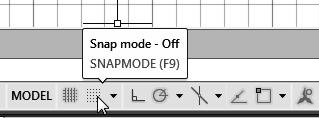 1-12 AutoCAD 2018 Tutorial: 2D Fundamentals SNAP MODE ON 1. Left-click the SNAP MODE button in the Status Bar to turn ON the SNAP option. 2. Move the cursor inside the graphics window, and move the cursor diagonally on the screen.