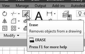 AutoCAD Fundamentals 1-13 Using the Erase Command One of the advantages of using a CAD system is the ability to remove entities without leaving any marks.