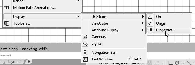 Click on the View pull-down menu and select [Display] [UCS Icon] [Properties ] 2.
