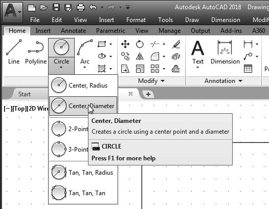 AutoCAD Fundamentals 1-23 Creating Circles The menus and toolbars in AutoCAD 2018 are designed to allow the CAD operator to quickly activate the desired commands. 1. In the Draw toolbar, click on the little triangle below the circle icon.