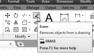 The message Select objects is displayed in the command prompt area and AutoCAD awaits us to select the objects to erase. 2. Select the vertical line as shown. 3.