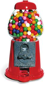 What is the sum of the probability of choosing a red block and the probability of not choosing a red block?. A bubble-gum machine contains 5 gumballs.
