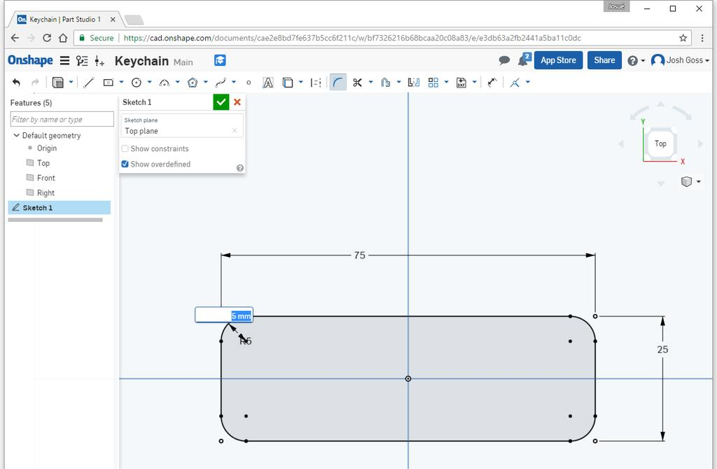 Click on the sketch fillet tool ( pronounced fill-it ) and then click on all 4 corners.