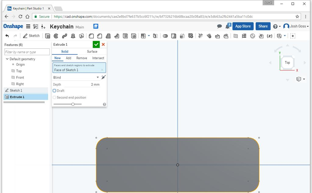Now it s time to go 3D! Click on the Sketch 1 to close the sketch. Click on the Extrude button.