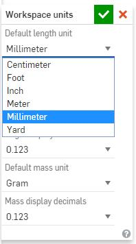 Set the default length units to