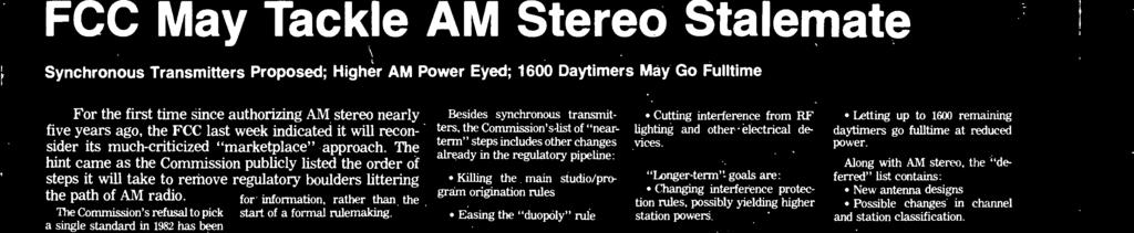 "With industry pressure for ction mounting, Mss Medi Bureu Chief Jim McKinney sid petition from Texr clling for single AM stereo gtndrd ""must be ddressed."" Repeter Trnsmitters."