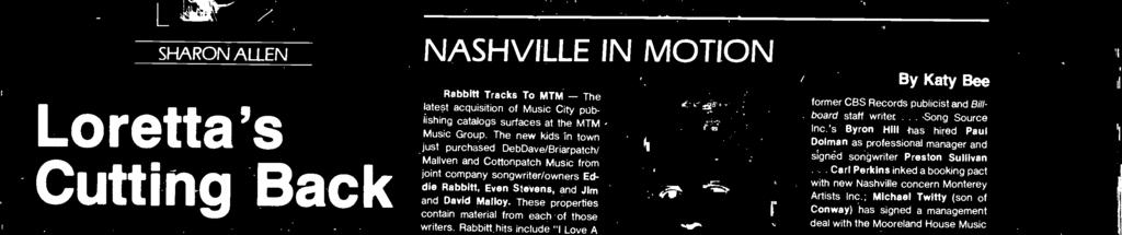 """ NASHVILLE IN MOTION Rbbitt Trcks To MTM - The ltest cquisition of Music City publishing ctlogs surfces t the MTM Music Group."