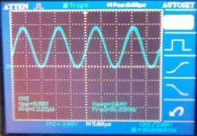 7 The physical picture of sinusoidal signal generator Output waveforms Instep GDS-222A digital oscilloscope to test the actual output waveform shown in Figure 8.