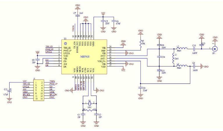 Cai jing:the Design of Explosion-proof robot Based on MSP43 Figure 5. The application of nrf95 circuit III. POWER SUPPLY MODULE Pd =.5*(65.7 *3 +.22) = 98.
