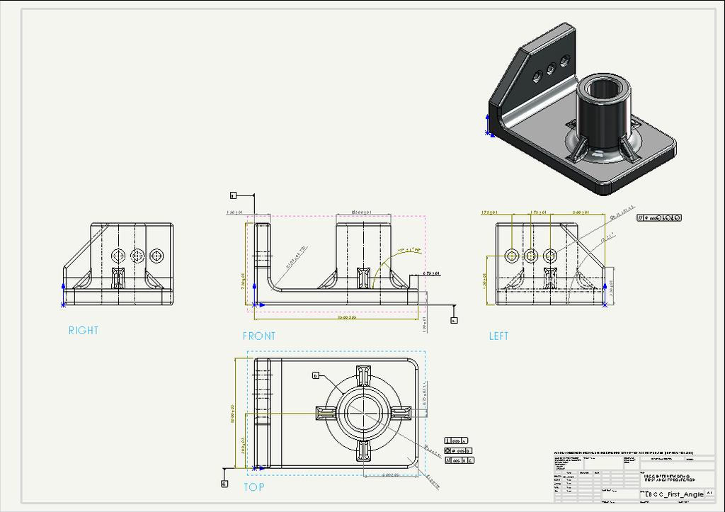 1 How to Create a 3D Model and Corresponding 2D Drawing with Dimensions, GDT (Geometric Dimensioning and Tolerance) Symbols and Title Block in SolidWorks 2013-2014 By Edward Locke This tutorial will