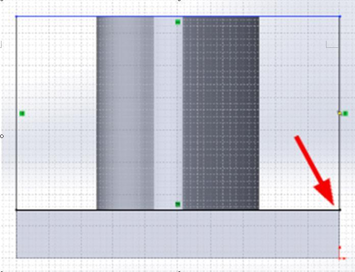 next, move the mouse up until dotted horizontal and vertical lines intersect and click once