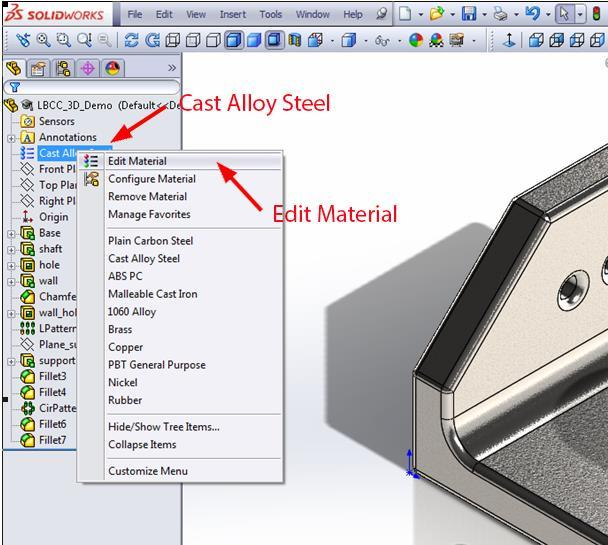 Material feature changes from Matertial <not specified> to Cast Alloy Steel to indicate a specified