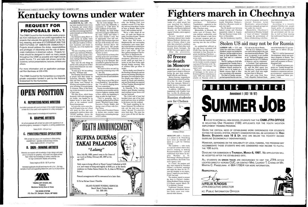 -;.;.'-' f,._a -MARANAS.VARETY NEWS AND VEWS~WEDNESDAY- MARCH 5, 997 Kentucky towns under water., ' ( f. /.