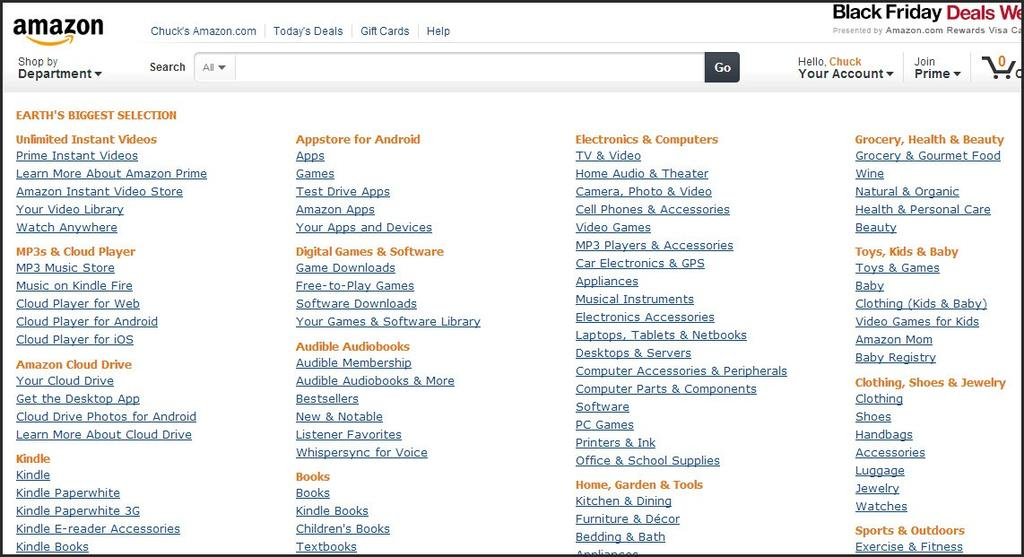 Finding Products Go to Amazon.com and click Full Store Directory? A list of categories will come up. You can click on any of the categories. I m going to select Camera, Photo and Video.