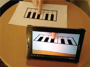 Augmented Reality Piano is an Android mobile application that utilizes real-time image processing and pattern recognition to provide simulated functionality to a hand drawing of piano keys that is