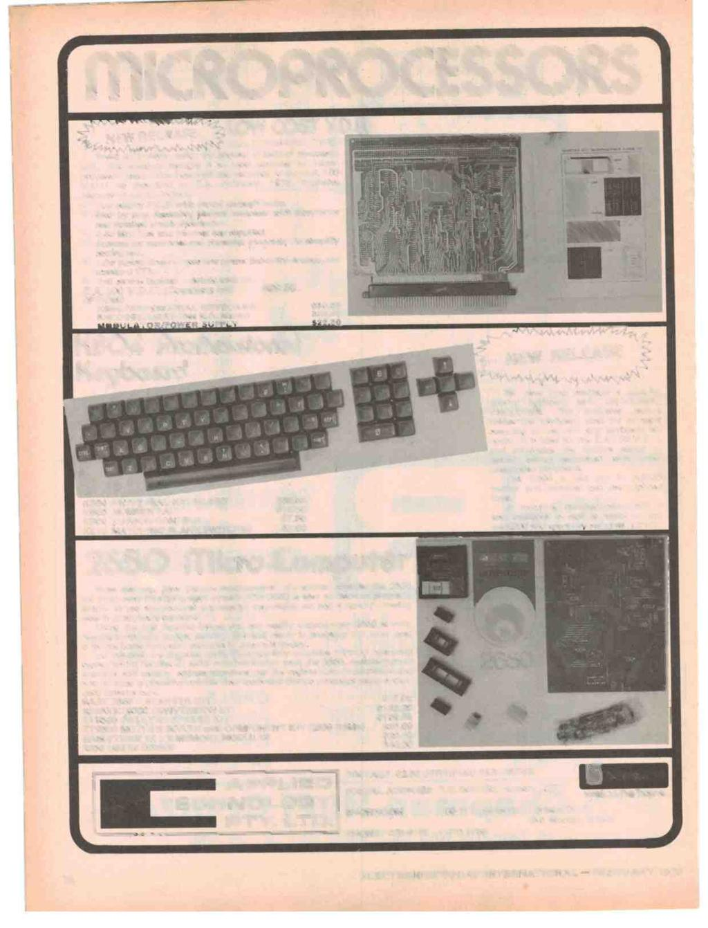 `.. LOW ICROPROCE SSORS NEW RELEASE COST V.D.U. (E.A. FEB/MARCH 1978) Based on a clever design by Michael O'Neill of Newcastle Uni., this compact module is an ideal terminal for microprocessor users.